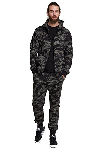 Mens Sports Military Camouflage 2 piece Contrast Tracksuit Hoodie Sweatpants Set
