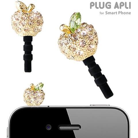 Plug Apli Crystal Apple Earphone Jack Accessory (Gold x Light Colorado Topaz #246)