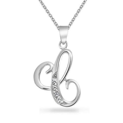Bling Jewelry ABC Zirkonia Pave CZ Schreibschrift Script Buchstabe Alphabet Initialen C Anhänger Mit Halskette Für Damen Silber