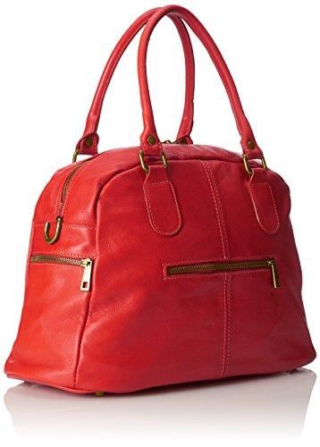 CTM Borsa da Donna Grande, Stile Bauletto, 47x29x21cm, Vera pelle 100% Made in Italy Rosso