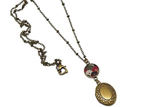 Retro resina collar con portafotos Japón abanico rojo negro blanco bronce broche...