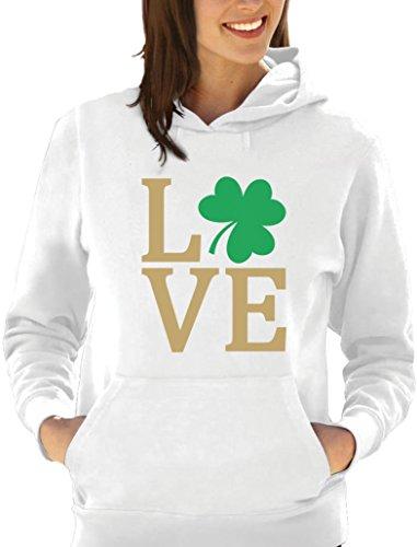 Green Turtle T-Shirts Irisches Liebes Kleeblatt - St. Patrick Damen Kapuzenpullover Hoodie X-Large Weiß -