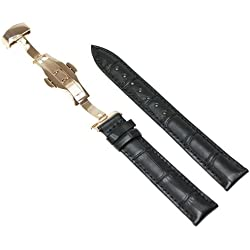 RECHERE 17mm Crocodile Grain Leather Watch Band Strap Rose Gold Deployment Clasp Black