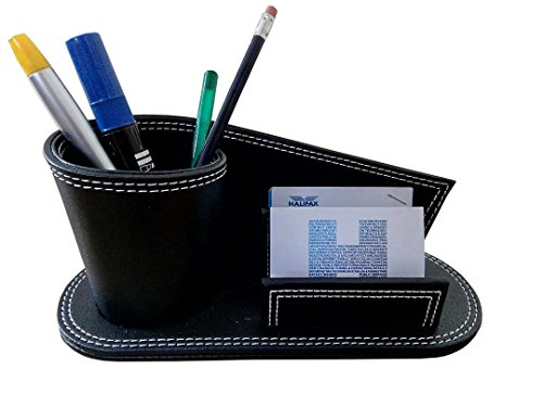 Desk organizer leather Pen Pot Holder with Business Card