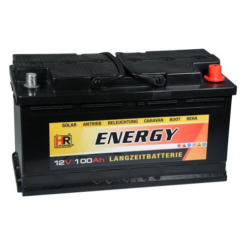 HR-ENERGY 100Ah 12V Versorgerbatterie Wohnmobil Solar Boot
