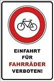 Ein- Ausfahrt Schild Schilder -140s- Fahrrad, mit 4 Eckenbohrungen (3mm) inkl. 4 Schrauben