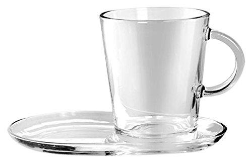 Pasabahce set 2 tazze con piattino, 38.5 cl, vetro, trasparente