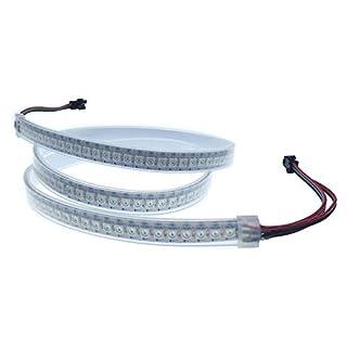 ALITOVE Addressable WS2812B 5050 RGB LED Flex Strip Rope Light 3.2ft 144 Pixels Waterproof IP67 White PCB 5V For Arduino Rainbowduino, FastLED library, Adafruit and Raspberry Pi …