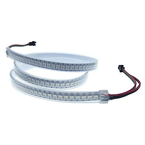 ALITOVE WS2812B 5050 RGB LED Flexible Strip Light 3.2ft 144 Pixels Individually Addressable Waterproof IP67 White PCB 5V DC