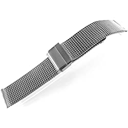 JRRS7777 24mm Stainless Steel Watch Mesh Bracelet New Wristband 0.8mm Wire Titanium Highly Polishing
