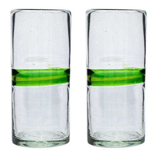 Handgemachtes Hi-Ball Glas - recyceltes Glas - Gemischtes Grün - Set aus 2 Gläsern Hi-ball Glas Set