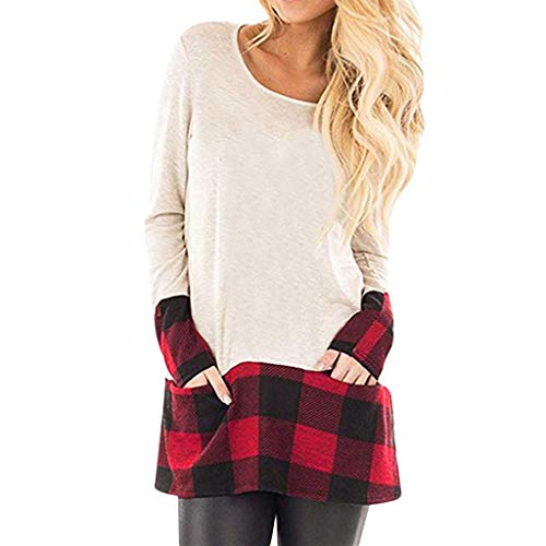 (Christmas Pullover Damen UFODB Elegante Frau Weihnachtspullover Weihnachten Blumen Drucken Langarm Sweatshirt Cute Hemd Rentier Fashion Pulli Warme T-Shirt Kleid)