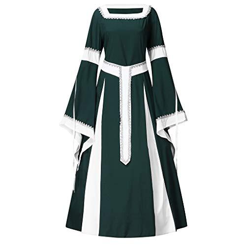 SUMTTER Damen Mittelalterkleid Vintage Gothic Cosplay Kostüm Renaissance Übergröße Maxikleid fur Halloween Karneval - Gefangener Übergröße Kostüm