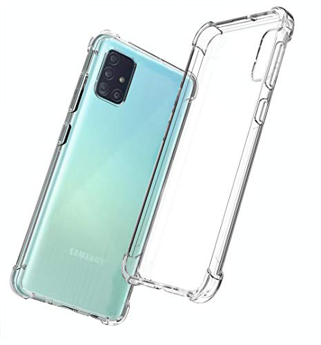QHOHQ Coque pour Samsung Galaxy A51, Transparent Ultra Mince Anti Rayures Silicone TPU (Transparent)