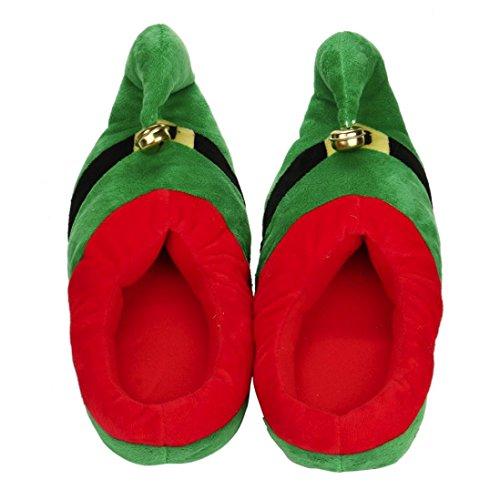 Odejoy pattini casuali del cotone della peluche unisex pattini di inverno caldi del pattini di natale caldi di inverno scarpe natale costume peluche pantofole (m, green)