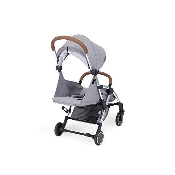 Ickle Bubba Globe Max Baby Stroller | Lightweight and Portable Stroller Pushchair | Folds Slim for Ultra Compact Storage | UPF 50+ Extendable Hood, Footmuff and Rain Cover | Grey/Silver Ickle Bubba ONE-HANDED 3 POSITION SEAT RECLINE: Baby stroller suitable from birth to 15kg-approx. 3 years old; features luxury soft quilted seat liner, footmuff, cupholder, and rain cover UPF 50+ RATED ADJUSTABLE HOOD: Includes a peekaboo window to keep an eye on the little one; extendable hood-UPF rated-to protect against the sun's harmful rays and inclement weather ULTRA COMPACT AND LIGHTWEIGHT: Easy to transport, aluminum frame is lightweight and portable-weighs only 6.4kg; folds compact for storage in small places-fits in aeroplane overhead; carry strap and leather shoulder pad included 4