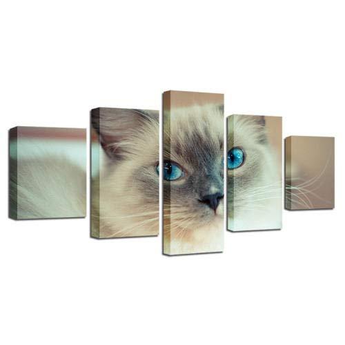 Wieoc Druck Tier Leinwand Malerei Decor Wohnzimmer Wand 5 Stücke Schöne Weiße Katze Blaue Augen Modulare Plakatrahmen Kunst Hd Bilder-150X80Cm