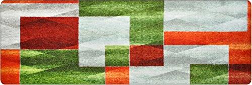 deco-mat Hochwertiger Designer Teppich für Wohnzimmer, Kinderzimmer, Flur, Bad, Innen und Außen-Bereich | Rutschfester und waschbarer Teppich-Läufer – GRÜN GRAU ORANGE 60 x 180 cm