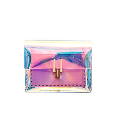 BESTOYARD Transparente Handtasche bunte Kette Tasche Rainbow Laser Geldbörsen Clear Jelly Mini Tasche für Frauen (Pink) -