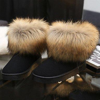 RTRY Scarpe Da Donna In Pelle Nubuck Autunno Inverno Lanugine Fodera Comfort Novità Snow Boots Fashion Stivali Stivali Tacco Piatto Round Toe Stivaletti/Caviglia US6.5-7 / EU37 / UK4.5-5 / CN37