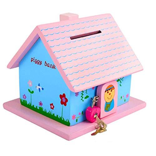 Spardosen, Kind Holz Sparschwein Mit Schloss Abschließbar for Junge Mädchen Geschenk Kleines Haus Depot Geld Sparen Tingting (Size : 15 * 16 * 14cm) sparschwein,Rosa