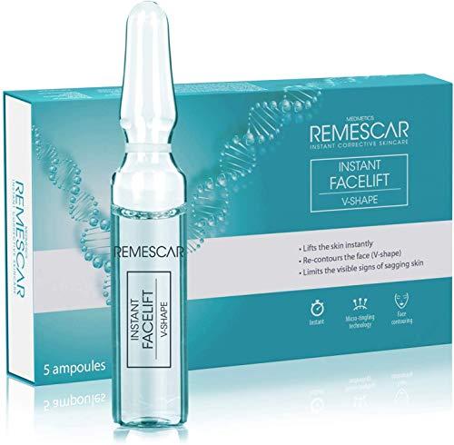 Remescar - Ampollas en forma de V - Suero de estiramiento facial instantáneo - Reducción de arrugas - Contornea la cara - Aprieta la piel - Refuerzo de colágeno - Resultados instantáneos
