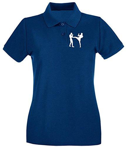 Cotton Island - Polo pour femme TBOXE0057 Muaythai front kick Bleu Navy
