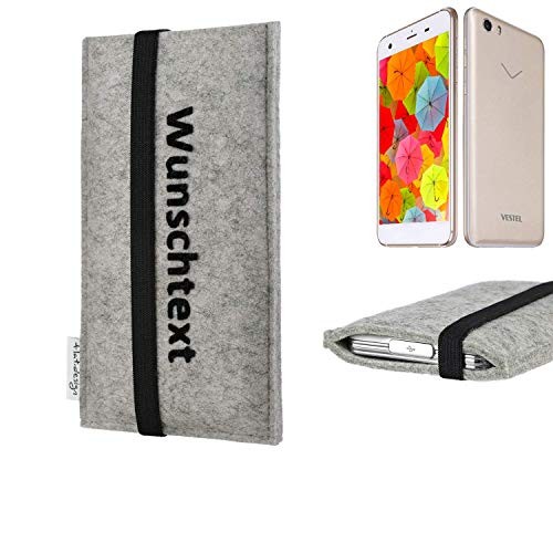 flat.design Handy Hülle Coimbra für Vestel V3 5570 maßgeschneiderte Handytasche Filz Tasche Case schwarz grau