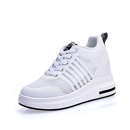 AONEGOLD® Sneakers Donna Zeppa Interna Scarpe da Ginnastica Basse Sportive Fitness Sneakers Respirabile Mesh 7.5CM(Bianco,36 EU)