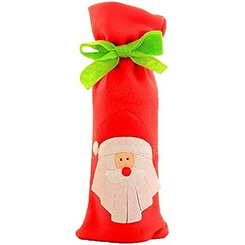 Bottiglia di Vino di Natale Copertina Titolare Sacchetti Regalo con Piccoli Arco e Coulisse Perfetto Decorazioni di Natale - Babbo Natale - Carta Regalo Della Santa Titolare