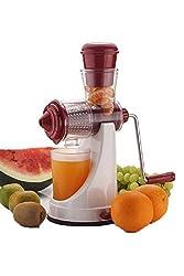 A To Z Sales Fruit & Vegetable Manual Juicer Mixer Grinder With Steel Handle Polypropylene Hand Juicer-Red & White (AZ8317)
