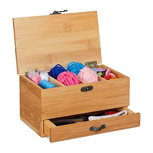 Relaxdays Bambus Nähkästchen, 4 Fächer & Schublade, mit Deckel, Griff in Antik-Optik, Nähkiste ohne Inhalt, natur