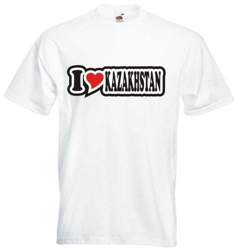 T-Shirt Herren - I Love Heart - I LOVE KAZAKHSTAN Weiß