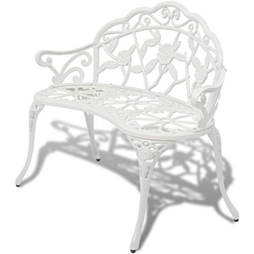 vidaXL Banco de Jardín Blanco de Aluminio Fundido Dimensiones 100 x 54 x 80 cm