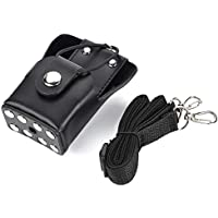 Estuche de Cuero para Radio con cordón para Motorola Walker Talkie GP328plus / GP338plug / GP344 / GP388, para Bombero, Guardia de Seguridad, Personal de Primeros Auxilios (Negro)