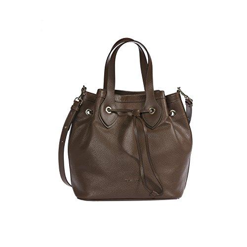 Trussardi femmes sac à main, sac fourre-tout en Dollar véritable et cuir lisse, 100% Calf - 26x29x19 cm Brun Foncé
