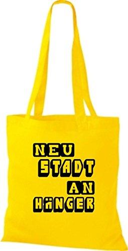 Shirtstown Stoffbeutel lustige Sprüche Neustadt Anhänger viele Farben gelb