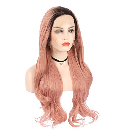 arimika, hitzefest Ombre Rose Pink hitzebeständig Synthetic Hair Lace Front Perücke mit dunkelbraun Wurzeln Peach Pink Lace