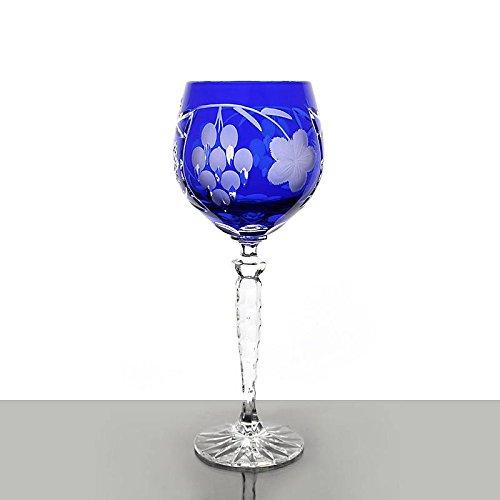 Weinglas, Weinkelch, Römer 'TRAUBE' blau, 300ml, handgeschliffen, Bleikristall, moderner Style...