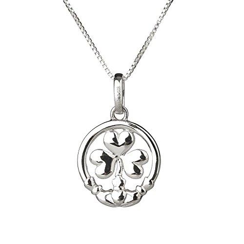 Claddagh Shamrock - Irisches Kleeblatt mit Claddagh Ring aus Sterling Silber (Irische Claddagh Ringe)
