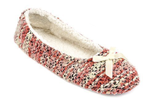 Donna / donna Tessuto Pantofole Con Fiocco - Rosa o Lilla - Rosa, UK 3/4 (Euro 36/37) Rosa