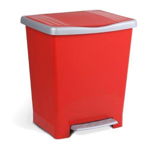 TATAY 1101409 - Millenium Cubo de Basura Cocina con Apertura a Pedal, 23 l de Capacidad, Plástico Polipropileno, Rojo, 33,5 x 30 x 39 cm