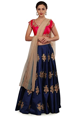 Roadstar India Taffeta Silk Lehenga Choli (Blue_Free Size)