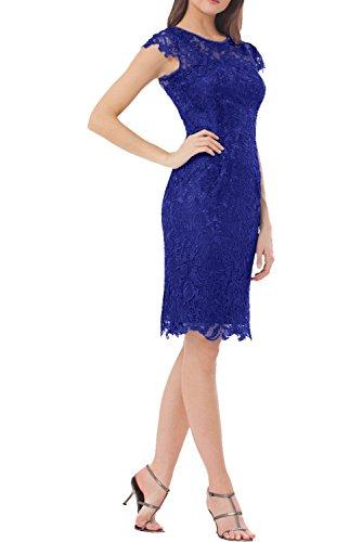Victory Bridal Elegant Knielang Kurzes Spitze Abendkleider Partykleider Promkleider Brautmutterkleider Royal Blau