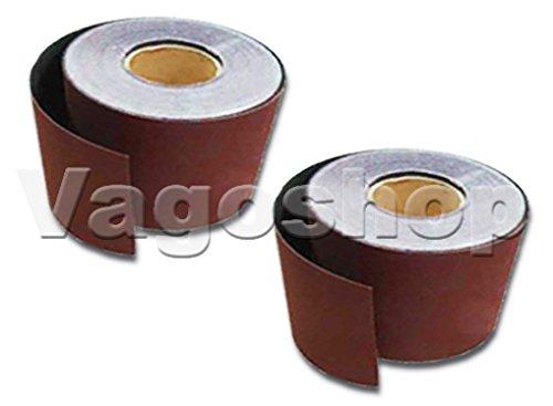 2 Rollen Schleifpapier ohne Klett 115 mm x 10 m Rollenschleifpapier Korn 320 (2 Klett-rollen)