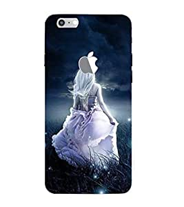 FUSON Woman And Bright Moon. 3D Hard Polycarbonate Designer Back Case Cover for Apple iPhone 7 Plus (Logo View Window Case)