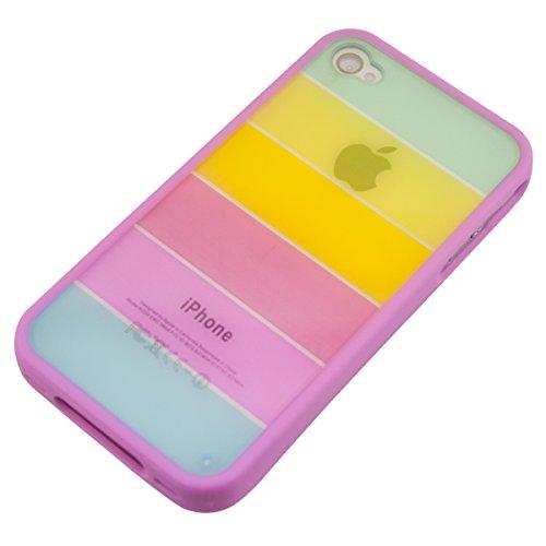 kwmobile Hülle TPU Silikon Case für Apple iPhone 4 / 4S mit Bumper Rahmen - Handy Cover Schutzhülle in Mehrfarbig Mehrfarbig
