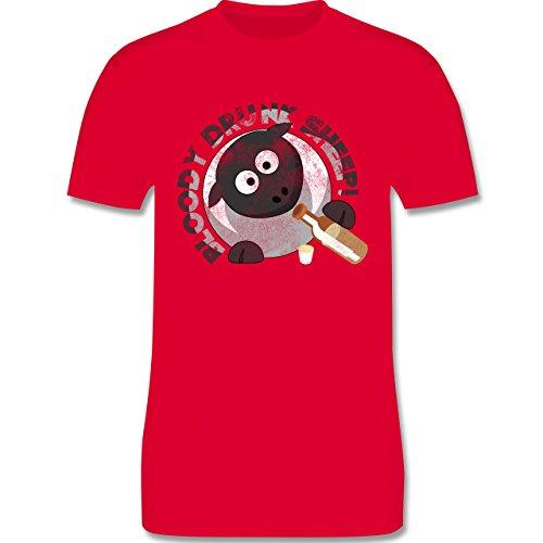 lustige Sprüche - Bloody Drunk Sheep - L190 Herren Premium Rundhals T-Shirt Rot