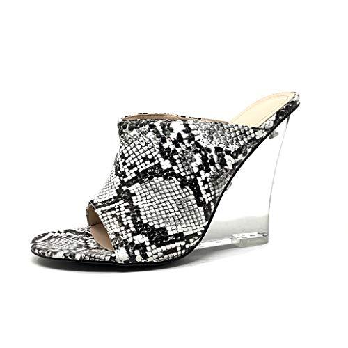 Angkorly - Damen Schuhe Mule Sandalen - Slip-On - Offen - Sexy - Python-Schlangenprint - transparent Keilabsatz 10.5 cm - Schwarz CB70 T 36 Python Slip-on