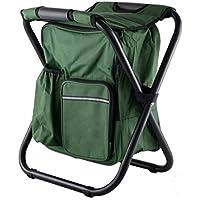 CampHiking® Mochila plegable para silla con bolsa térmica aislante para picnic al aire libre, camping, pesca, viajes, playa, barbacoa, Army Green